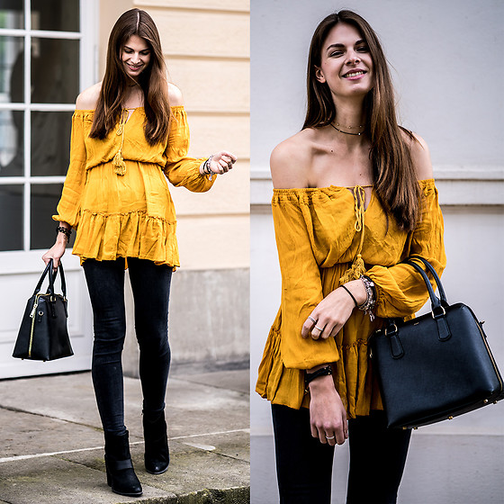 Jacky - Missguided Dress, Lee Jeans, Aldo Boots - Yellow Dress and Black Jeans