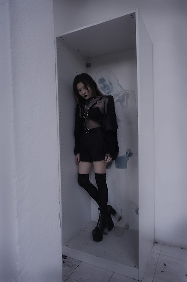 Morbid Grime - Topman Black Boy Shorts, Unif Das Boots, Leather Body Harness, One Ring Choker, Thrifted Black Furry Outerwear, Body Fishnet - REPRESSED
