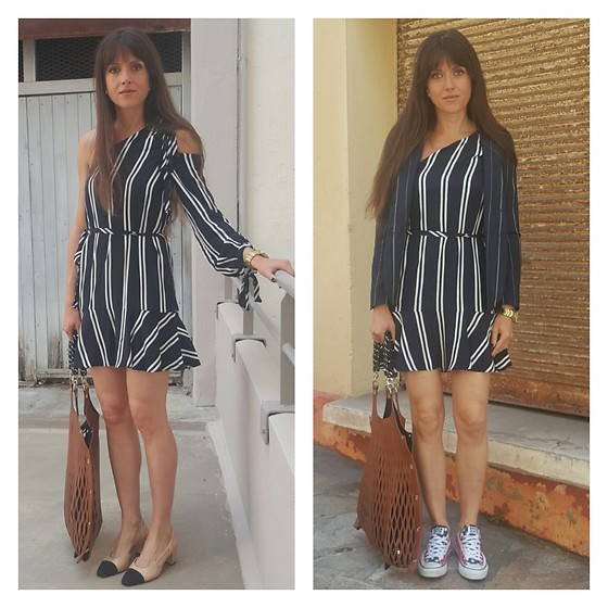 Jeanne -  - One Striped One Shoulder Dress = Two Outfits