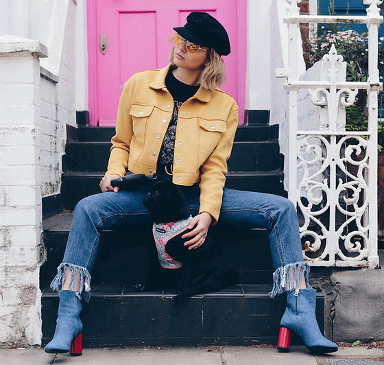 Dominique Malinowska - Acne Studios Denim Boots, Mango Yellow Aviator Sunglasses, Missguided Mustard Faux Suede Jacket, Missguided Guns And Roses T Shirt, Missguided Frayed Jeans - PUG THERAPY