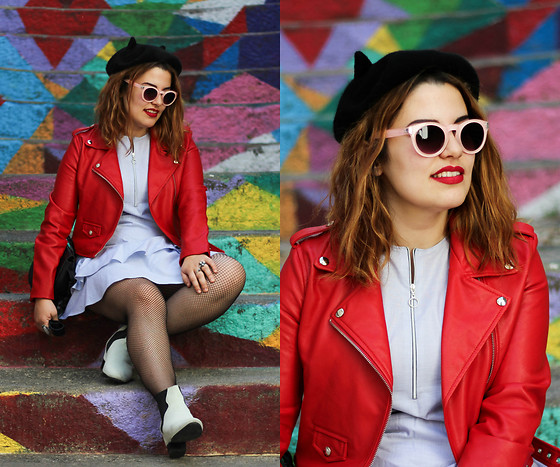 Zazu's World - Zara Ruffle Dress, Zara Boots, Bershka Red Biker Jacket - Colourful