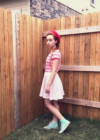 Emily Elizabeth - Savers Striped Shirt, Forever 21 Pink Skirt, Converse Mint Sneakers, Target Red Beret - Strawberry Shortcake ?