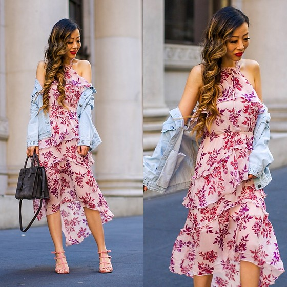 Sasa Zoe - Less Than $80 Dress, Jacket, Less Than $80 Sandals, Bag - HOW TO WEAR FLORAL MIDI