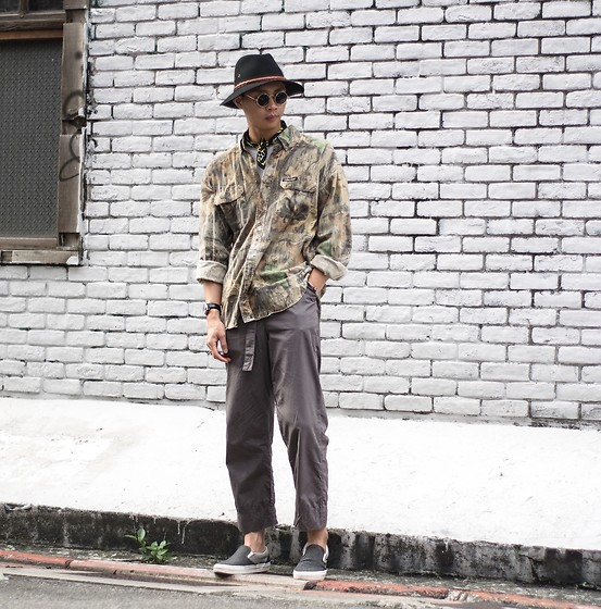 Anan Chien - Reclaimed Vintageldn Hat, Dr. Martens Scarf, Asos Pants, Vans Slip On - OOTD