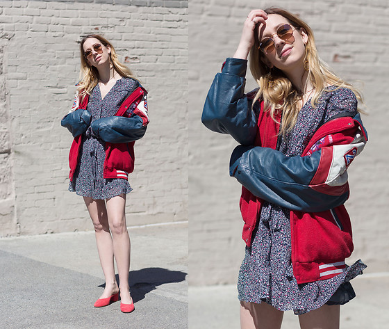 Gabrielle Lacasse - Vintage Football Jacket, Paige Denim Summer Dress, Club Monaco Red Pumps, Ray Ban Sunglasses - Vintage Football Jacket