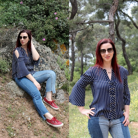 Rebel Takipte - Rosewholesale Striped Shirt, Simplee Apparel Patchwork Jeans - Striped Shirt