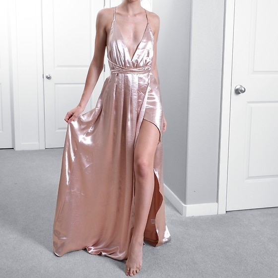 Tia Mcintosh - Shein Rose Gold Gown - Shine in pink