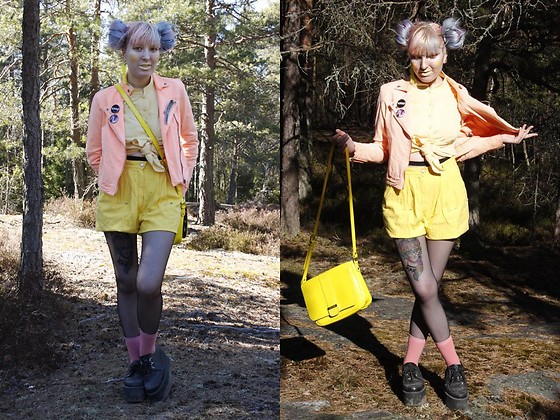 Lindwormmm - Fishnets With Seam, Underground Platform Glitter Creepers, Ted Baker Yellow Bag, Thrifted Yellow Cotton High Waisted Shorts, Diy Neon Peach Denim Jacket, Hand Me Down Yellow Button Up Shirt, Ivana Helsinki Knife Patch - Hunt the Sun