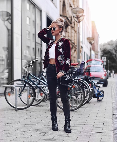 Romina M. - Balenciaga Cut Out Boots, Zara Bag, Bomber Jacket - Bright Future