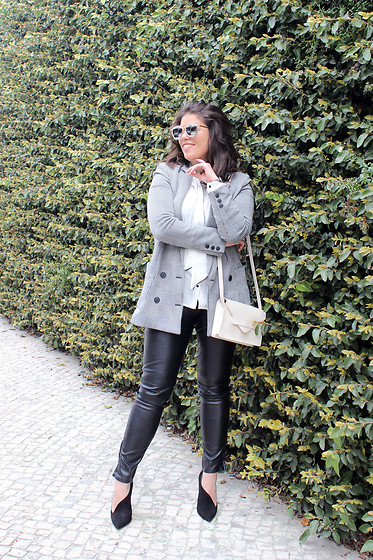 Joana Sá - Zaful Sunglasses, Mango Blazer, Zara White Shirt, Mango Envelop Bag, Daniel Wellington Watch, Zara Leather Pants, Zara Shoes - Watch