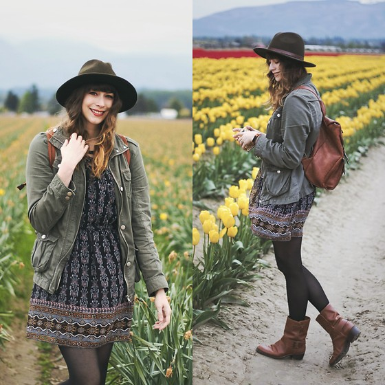 Mackenzie S - Shein Brown Leather Backpack, Guess Brown Moto Boots, Madewell Silk Lace Up Dress, Forever 21 Green Military Jacket, Brixton Green Wool Fedora - Tiptoe Through the Tulips