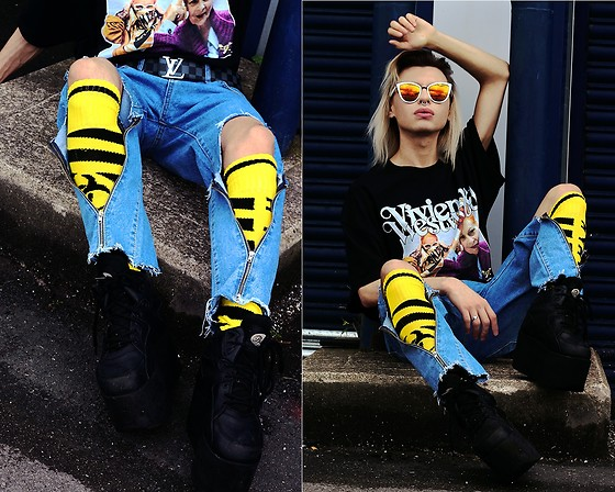 Milex X - Prada Sunglasses, Louis Vuitton Belt, Homage Tees Tee, Samson Hosiery Socks, Just Fashion Now Jeans - Vivienne X LV