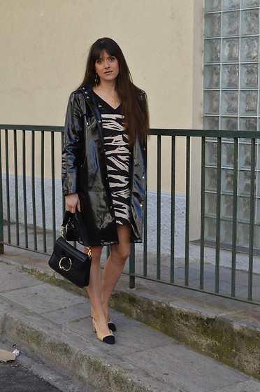 Jeanne -  - ♥ Mango Vinyl Jacket and Zebra Dress and Chanel Slingbacks ♥