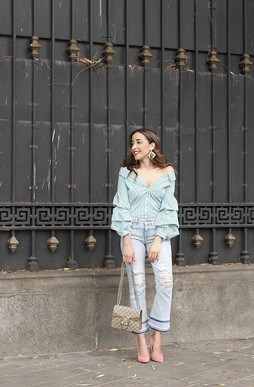 Besugarandspice FV - Zara Shirt, Gucci Bag, Zara Jeans - Green Stripes With Cropped Jeans