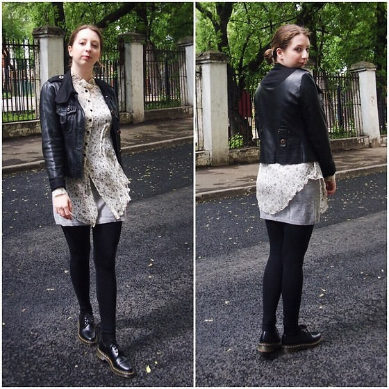 Ivana Braer - Kosmika Leather Jacket, Tricat Chic Blouse, H&M Leggings, Ferre Cashmere Dress, Dr. Martens Shoes - Layered Up for Summer