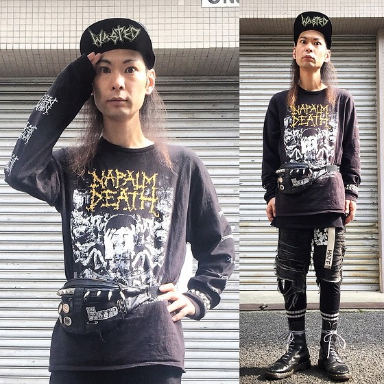 @KiD - Naparm Death Long Tee, Diy Studs Porch, Supa Resque Wears Crust Short Pants, Dr. Martens 10hole Boots, Funk Plus Studs Bracelet - Japanese Trash142