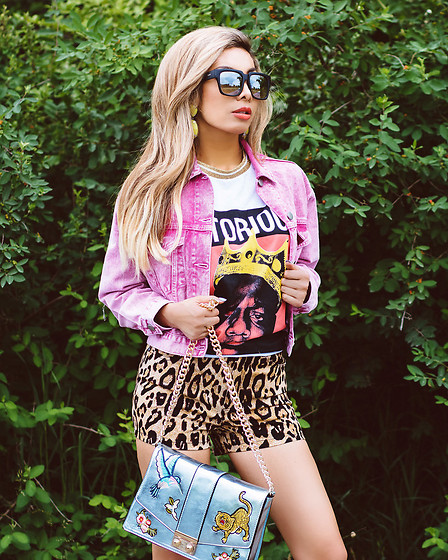 Eliza Romero - Quay On The Prowl Sunnies, Asos Blue Metallic Badge Shoulder Bag, Tripp Nyc Leopard High Waisted Shorts, Asos Pink Stonewash Denim Jacket, Asos Notorious B.I.G. Tee Shirt Oversized, Bauble Bar Lime Green Drop Earrings - NOTORIOUS