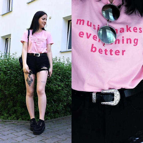 Natalia Pawlik - Bershka Tshirt, Shein Short, Zaful Belt, Zaful Sunglasses, Deezee Creepers - Music makes everything better