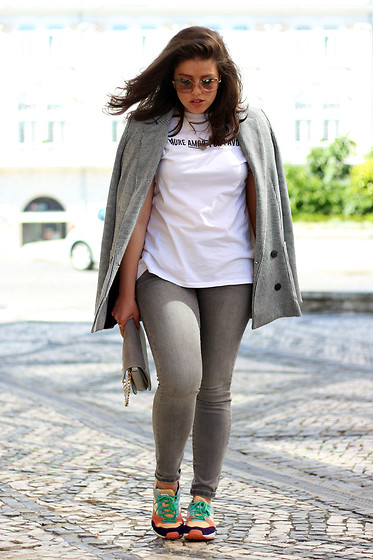 Joana Sá - Miu Sunglasses, Cinco Necklace, Mango Blazer, Zara T Shirt, Sammydress Bag, Zara Jeans, Adidas Sneakers - Formula