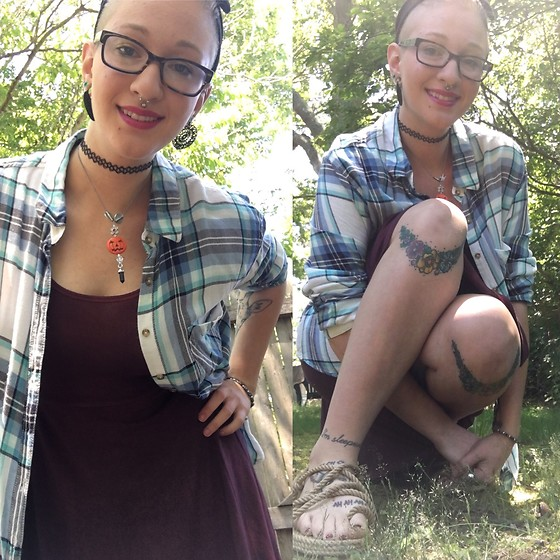 Ashlee Fairy Face - Garage Clothing Plaid Boyfriend Flannel, Old Navy Hand Dyed Dress, Corda The Wanderer - Going Wandering
