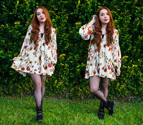 flower dress with boots