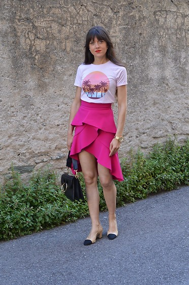 Jeanne -  - Tropical Tee & Ruffle skirt with Chanel Slingbacks and JW An