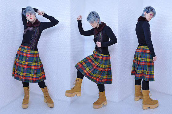 Suzi West - Suzi West Model Earrings, Forever 21 Faux Fur Collar, Forever 21 Longsleeve Top, Custo Barcelona Textured Top, Triminghaus Bermuda / Tailored By Rochelle Of London Vintage Wool Kilt, Forever 21 Leggings, Jeffrey Campbell Shoes Nirvana Boots - 11 March 2017