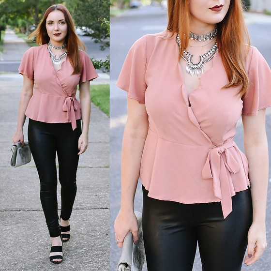 Cadyn Scott - Baublebar Warrior Necklace, Nordstrom Rack Dusty Rose Top, Nordstrom Rack Leather Leggings, Nine West Black Strappy Wedges - Edgy Romantic