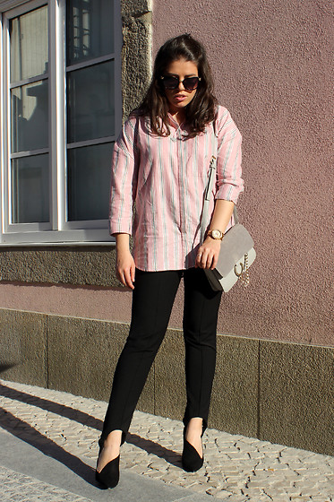 Joana Sá - Gianfranco Ferrè Sunglasses, Cinco Alexa Necklace, Stradivarius Shirt, Fossil Watch, Sammydress Bag, Zara Pants, Zara Shoes - Pink mania