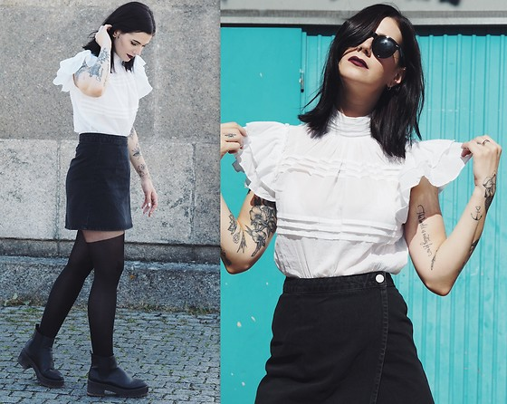 Nina Wirths - Asos Blouse, Asos Skirt, Asos Tights, Asos Boots, Topshop Rings - Grunge and mature