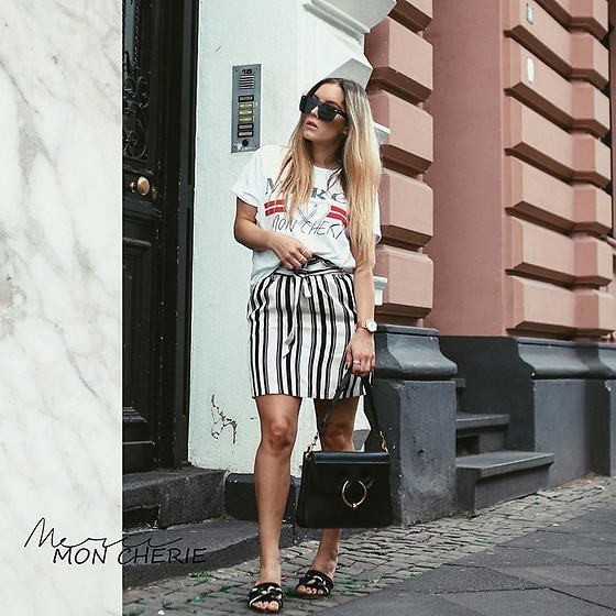 Fashiontwinstinct - Topshop Skirt, Tysoom Sunnies - Stripes, Statement Shirts & Piercing Bag.