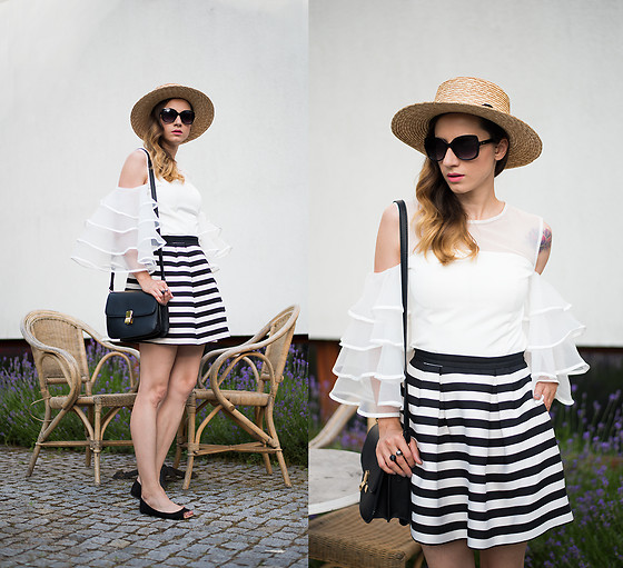 Miha Teicu - Chic Wish White Off Shoulder Ruffle Sleeves Top, Meli Melo Straw Boater Hat - It's always better on holiday