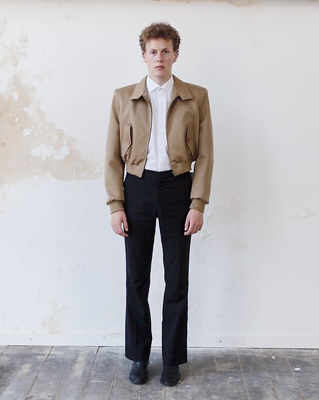 Martijn Maagdenberg - Balenciaga White Shirt, Balenciaga Beige Cropped Jacket, Costume National Mens Flared Pants, Sandro Black Boots - Untitled #46