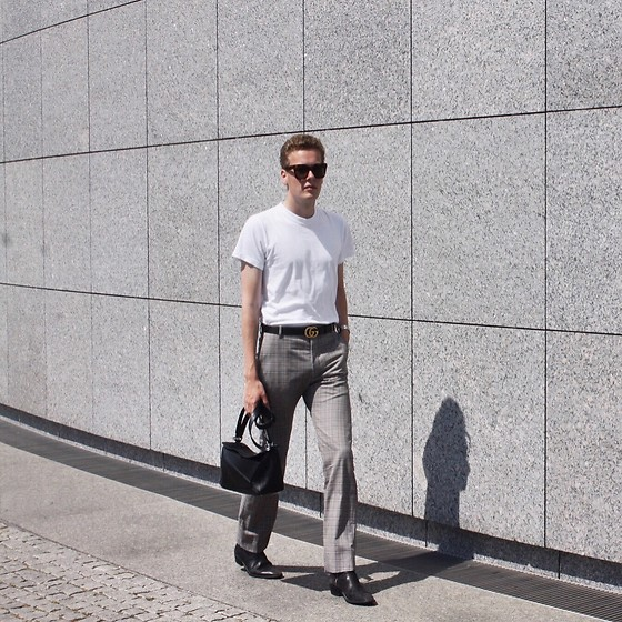 Martijn Maagdenberg - Acne Studios White T Shirt, Gucci Gold Gg Black Leather Belt, Balenciaga Beige Checkered Pants, Black Puzzle Bag, Sandro Black Heel Boots, Céline Tortoise/Brown Tilda Sunglasses - Untitled #47