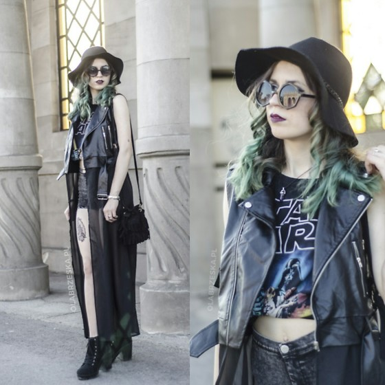 Ola Brzeska - Zaful Long Leather Waistcoat, House Star Wars Top, Allegro Tassel Bag, Rosegal Rounded Sunglasses, H&M Boots, Bershka Shorts, House Hat - Witch vibes