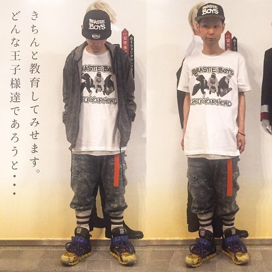 @KiD - Beastie Boys Check Your Head, Grand Royal Beastie Boys Cap, Warriors Of Radness Camouflage Pants, Camper Bernhard Willhelm X, Rvca Chemical Denim Hoodie - Japanese Trash150