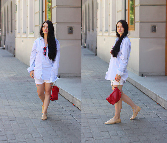Justyna Lis - Zara Nude Loafers, Mango White Shorts, Mango Baby Blue Shirt, Saint Laurent Earrings - Baby blue shirt & red details