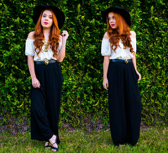 Priscila Figueredo - Cropped, Pants, Heels, Belt, Hat - Hey girl;