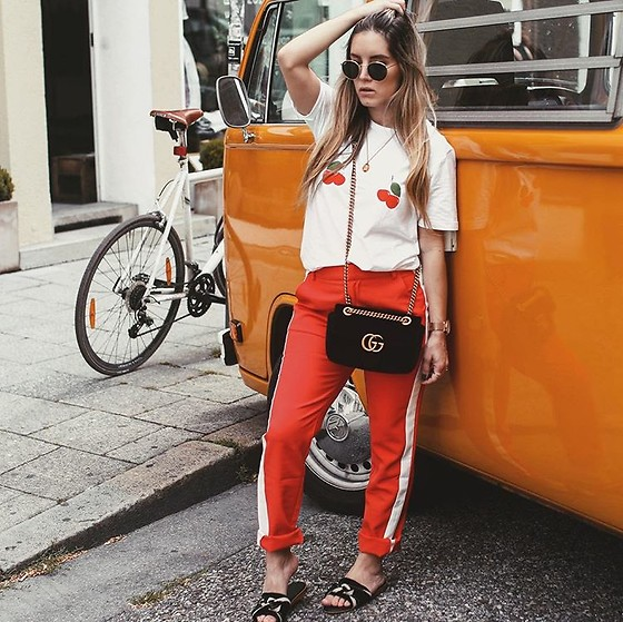 Fashiontwinstinct - Loavies Pants, Mango Sandals, Gucci Bag - Cherries, Track Pants & GG Marmont.