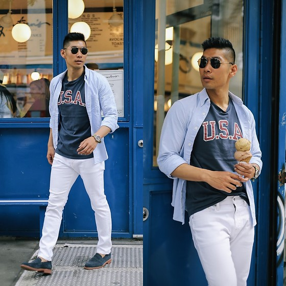 Leo Chan - Abercrombie & Fitch Icon Oxford, Abercrombie & Fitch U.S.A. Graphic Tee, Abercrombie & Fitch Skinny Jeans, Abercrombie & Fitch G. H. Bass Co. Proctor Buck Shoes - Summer Casual Layers