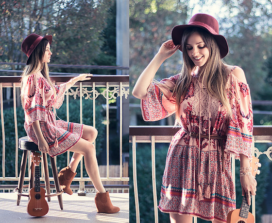 Kassy D - Angie Tunic Dress, Le Chateau Ankle Boot Wedges, D&Y Hat - Back To The Gypsy That I Was