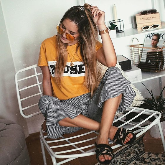 Fashiontwinstinct - Missguided Pants, Mango Sunnies - Yellow Muse Shirt x Volants Pants.