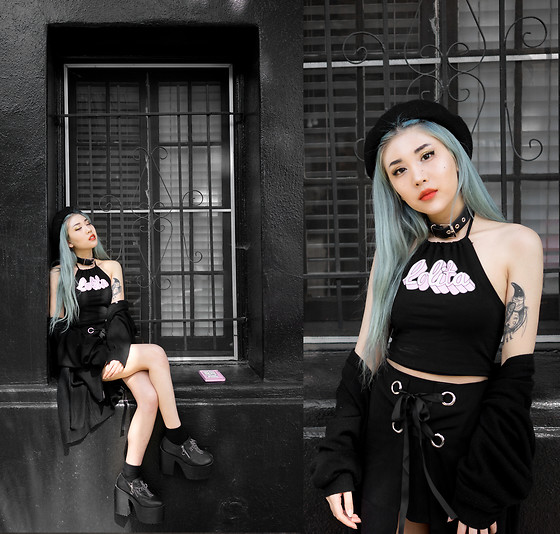 Essy Noir - Minga London Lolita Halter Crop Top, Miss Guided Scallop Ribbon Skirt, Goodwill Long Cardigan, Unif Cross Platforms - Black Out