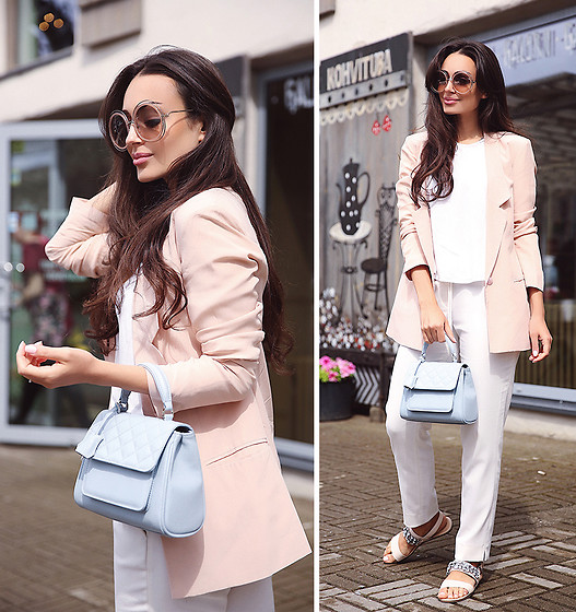 Intrigue U - Chloe Sunglasses, Monton Sandals, Inga Xavier Mini Quilted Bag, Asos Silk Blazer, Massimo Dutti Peg Trousers - Pastel Mood