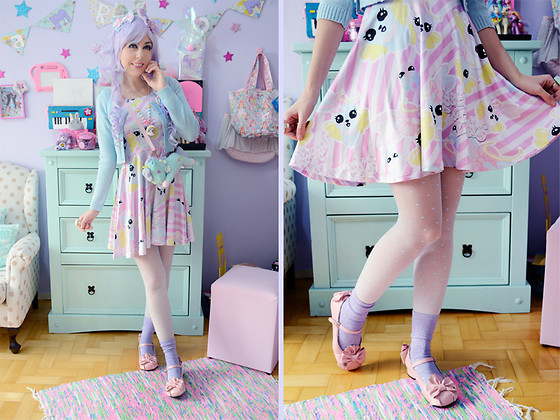 Luly Pastel Cubes - Follow The White Rabbit Dress, Forever 21 Tights - Lilac bunny