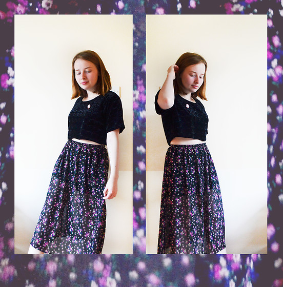 Jasmine - Charity Shop Velvet Crop Top, New Look Floral Skirt - Floral Galaxy