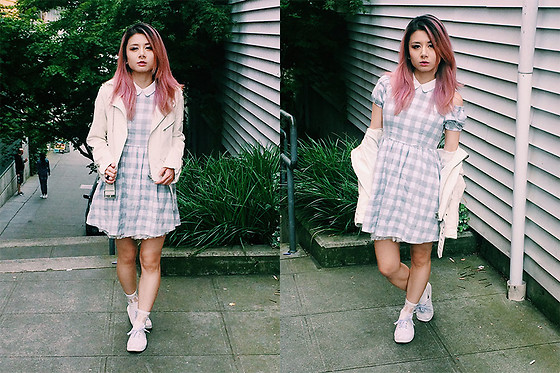 Lovely Blasphemy - Unif Spiked Moto Jacket White, Titty & Co Checkered Dress - Nothing makes one so vain as being told that one is a sinner