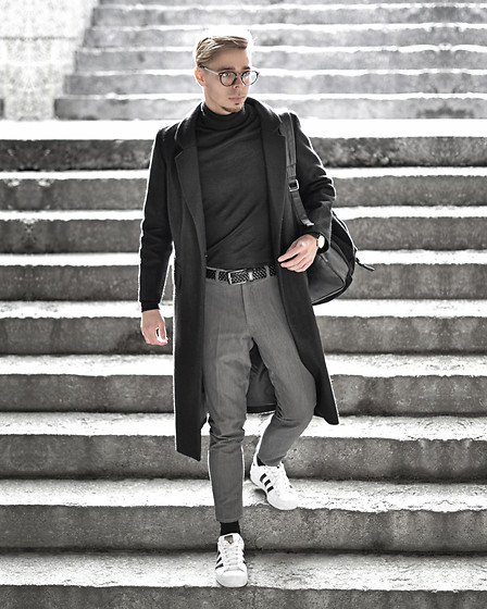 Edgar - Black Wool Blend Overcoat, H&M Black Roll Neck Sweater, Primark Gray Cropped Suit Trousers, Adidas White Superstar Sneakers, New Look Black Leather Belt, Primark Black Leather Backpack, Black Framed Optical Glasses - THE BEST IS YET TO COME