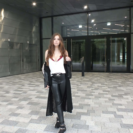 OH ANNE (BLOGGER) -  - White Camisole & Leather Pants