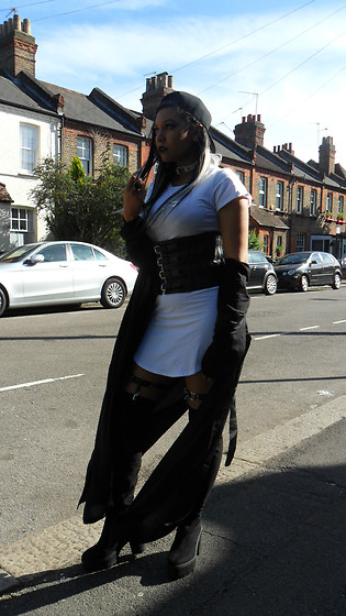 Furai T - Fashion Nova White T Shirt Dress, Missguided Black Satin Duster - Just A Touch Of Edge